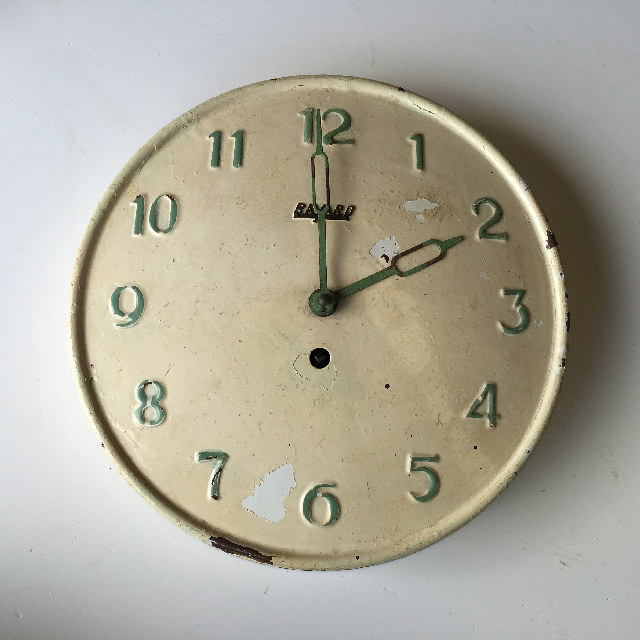 CLO0079 CLOCK, Wall Mount - 1940s Cream Enamel $18.75