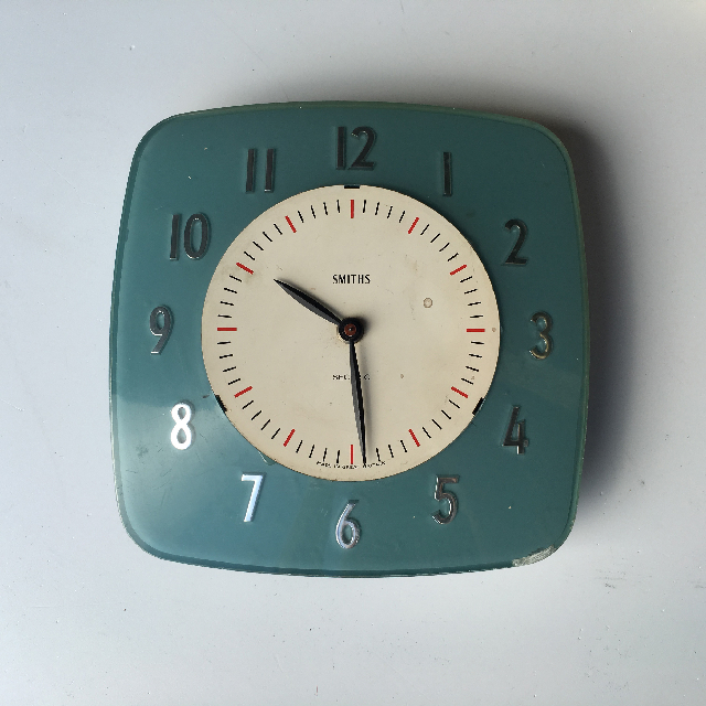 CLO0083 CLOCK, Wall Mount - 1950s Teal Blue $12.50