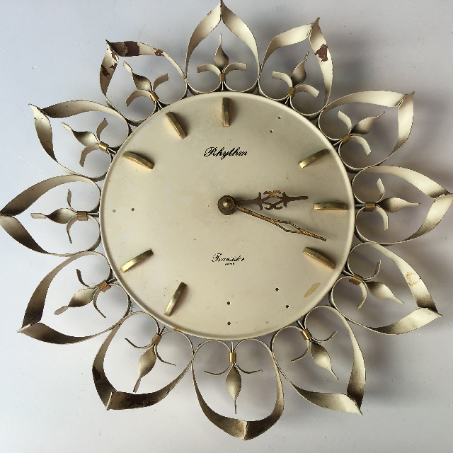 CLO0086 CLOCK, Wall Mount - 1960s Sunburst Cream Rhythm $18.75