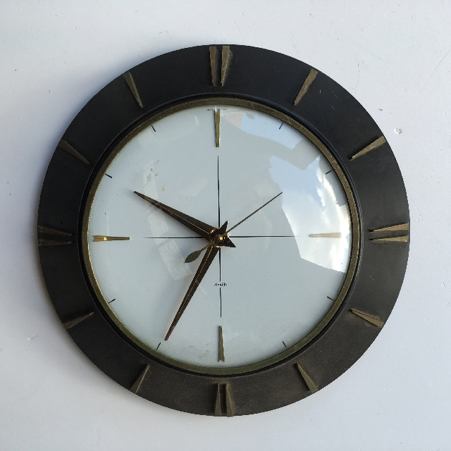 CLO0085 CLOCK, Wall Mount - 1960s Double Dial $18.75