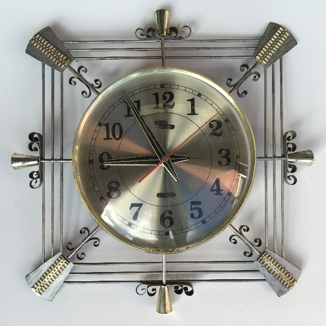 CLO0088 CLOCK, Wall Mount - 1970s Gold Crown $18.75