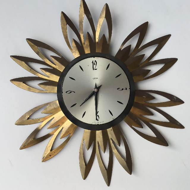 CLO0089 CLOCK, Wall Mount - 1970s Starburst Smiths $22.50