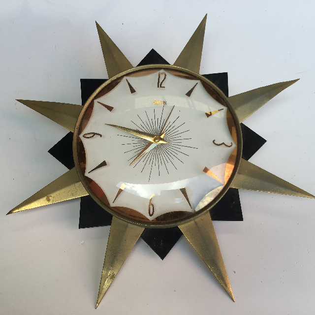 CLO0092 CLOCK, Wall Mount - 1970s Starburst $22.50