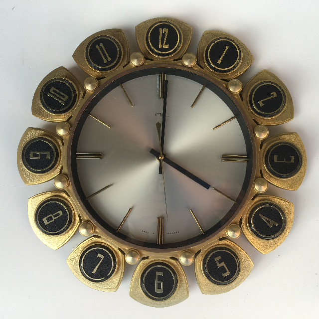 CLO0093 CLOCK, Wall Mount - 1970s Sunburst $18.75