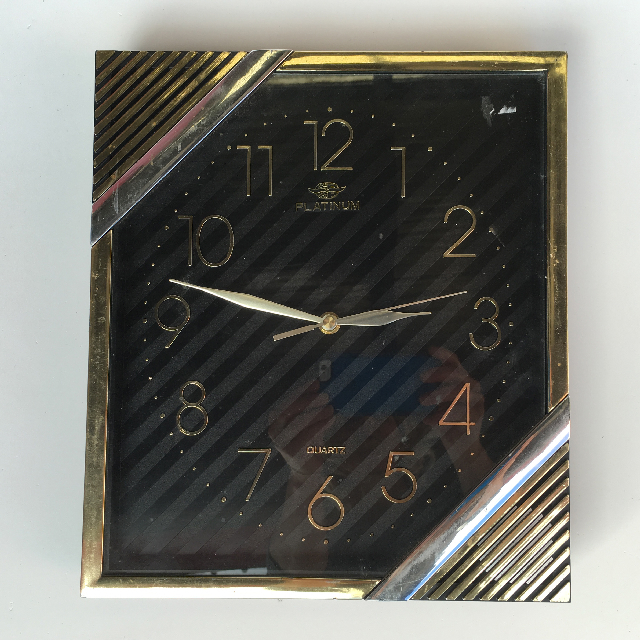 CLO0090 CLOCK, Wall Mount - 1970s Square Gold Platinum $12.50