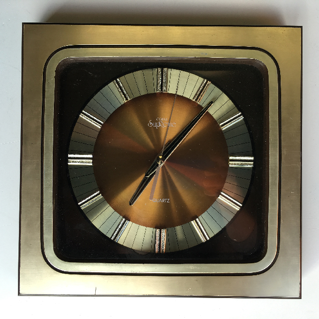 CLO0091 CLOCK, Wall Mount - 1970s Square Gold Supreme $12.50