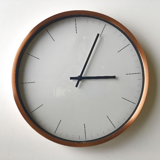 CLO0101 CLOCK, Wall Mount - Contemporary Copper $10