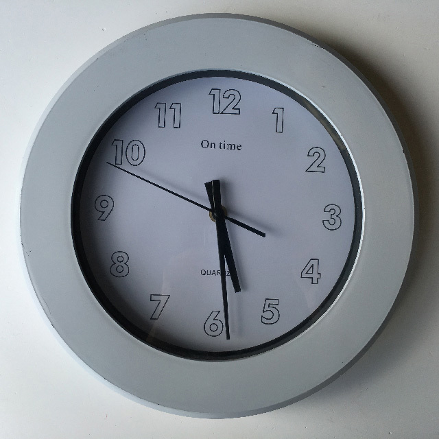 CLO0104 CLOCK, Wall Mount - Contemporary White On Time $7.50