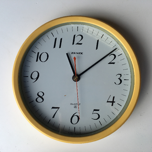 CLO0105 CLOCK, Wall Mount - Contemporary Yellow Tenix $7.50