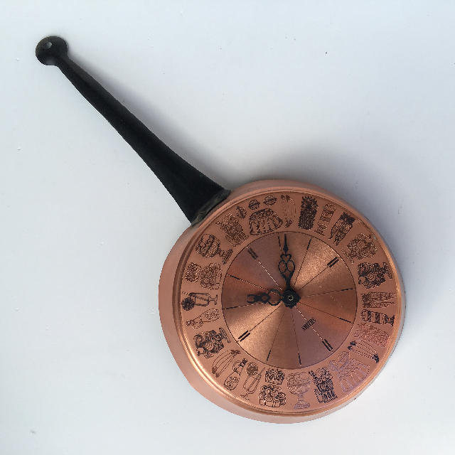 CLO0106 CLOCK, Wall Mount - Copper Pan $7.50