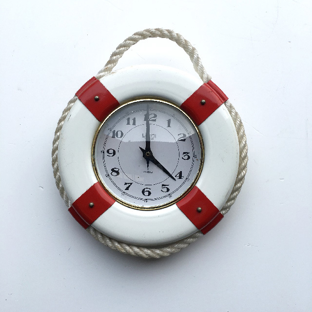 CLO0109 CLOCK, Wall Mount - Lifering Red & White $10
