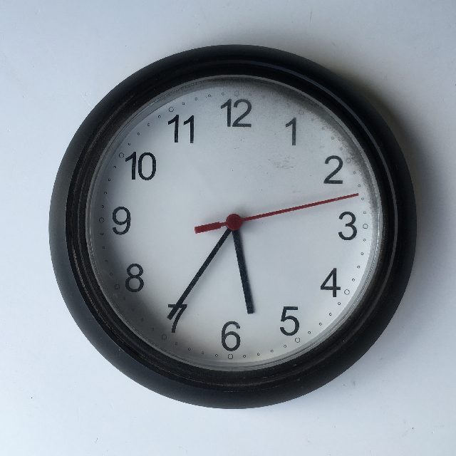 CLO0120 CLOCK, Wall Mount - Small Black Plastic $5