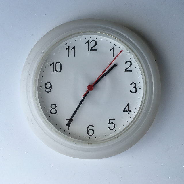 CLO0124 CLOCK, Wall Mount - Small White Plastic $5