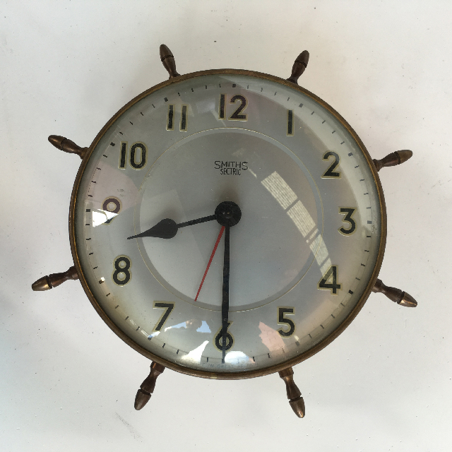 CLO0125 CLOCK, Wall Mount - Ships Wheel Smiths $15