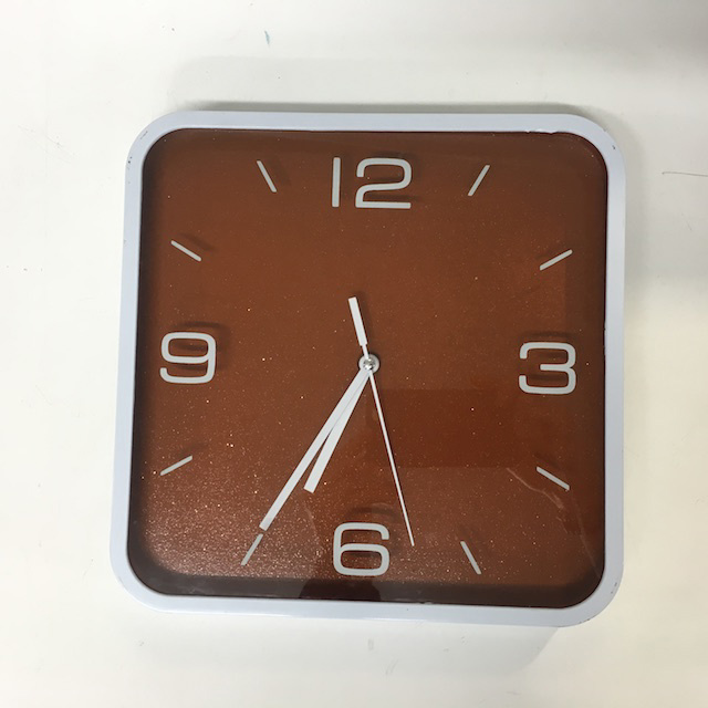 CLO0133 CLOCK, Wall Mount - Square White w Brown Face $10