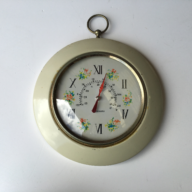 CLO0122 CLOCK, Wall Mount - Vintage Kitchen w Flower Detail $7.50