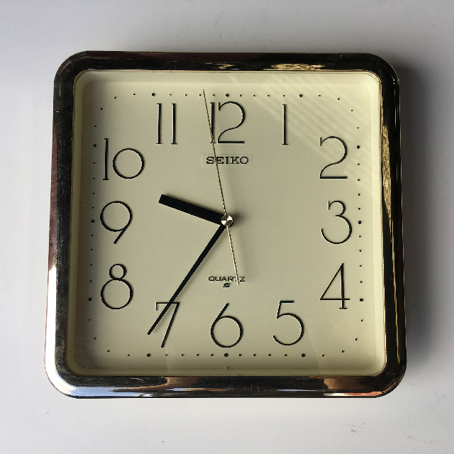 CLO0126 CLOCK, Wall Mount - Square Gold Seiko $10