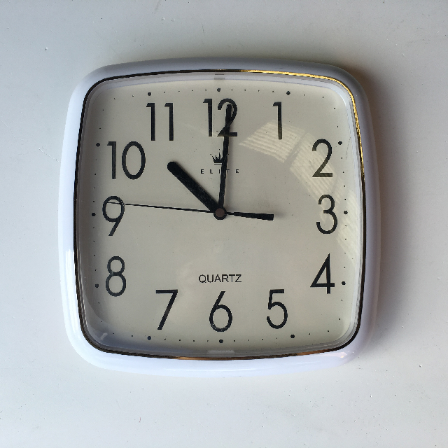 CLO0127 CLOCK, Wall Mount - Square White Elite $10