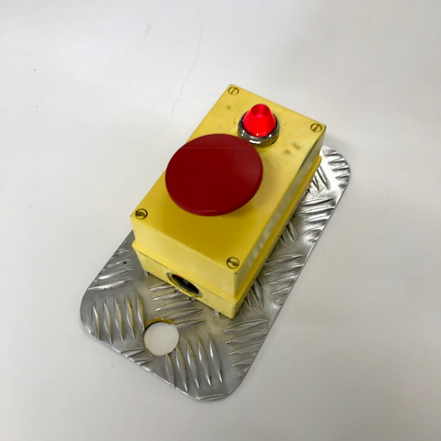 BUT0010 BUTTON, Red Button w Yellow Casing & Galvanised Backing $18.75