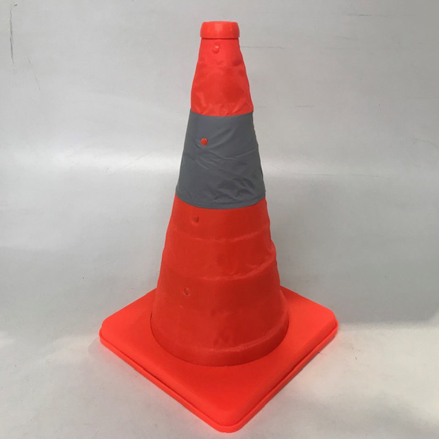 CON0101 CONSTRUCTION CONE, Fluro Orange - Retractable 42cm H 24cm Sq Base $10