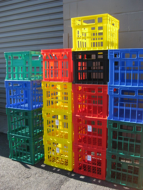 CRA0023 CRATE, Plastic Milk Crates - Assorted colours $10