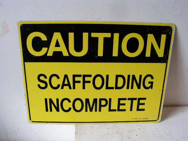SIG0330 SIGN, Construction - Yellow Scaffolding $12.50