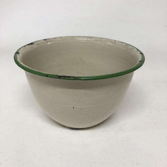 BOW0185 BOWL, Enamel Cream w Green Rim - Small $5