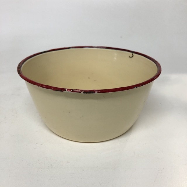 BOW0186 BOWL, Enamel Cream w Red Rim - Small $5