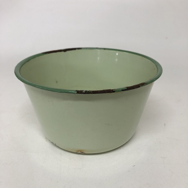 BOW0187 BOWL, Enamel Green w Blue Rim - Small $5