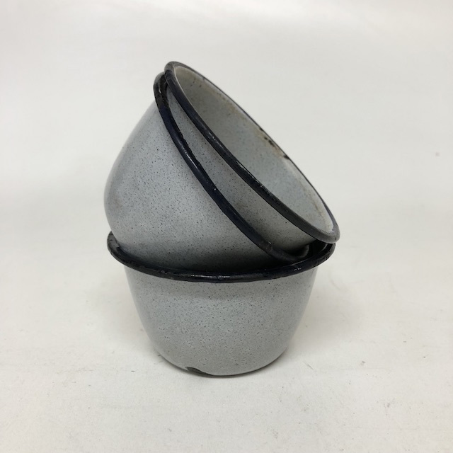 BOW0188 BOWL, Enamel Grey Speck w Black Rim - Ex Small $3.75