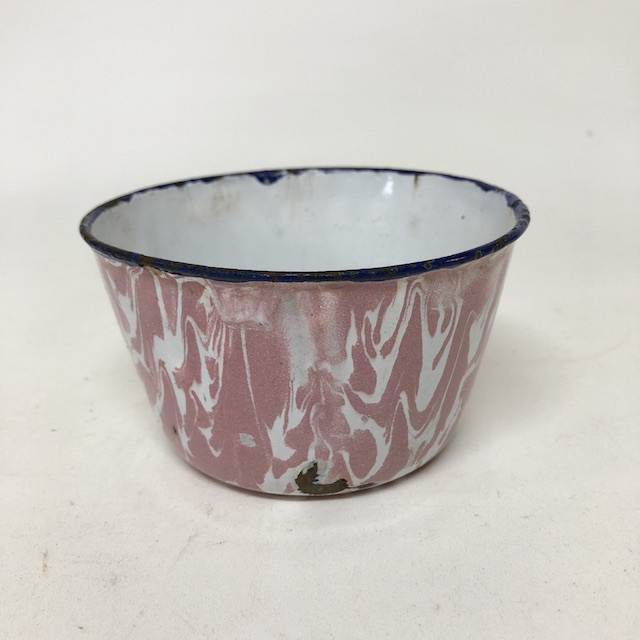 BOW0189 BOWL, Enamel Pink Marble - Small $5