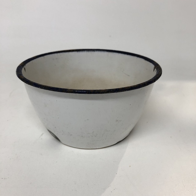 BOW0191 BOWL, Enamel White w Blue Rim - Small $5