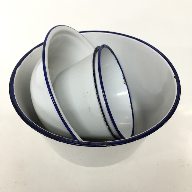 BOW0193 BOWL, Enamel White w Blue Rim - Medium $6.25 & Large (BOW0194) $11.25