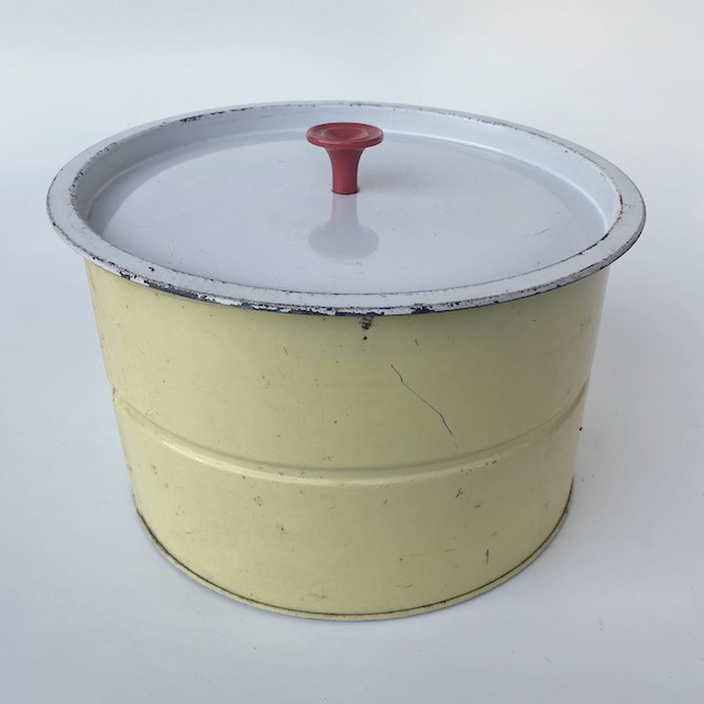 CAK0065 CAKE TIN, 1950's Lemon Yellow w White Lid $12.50