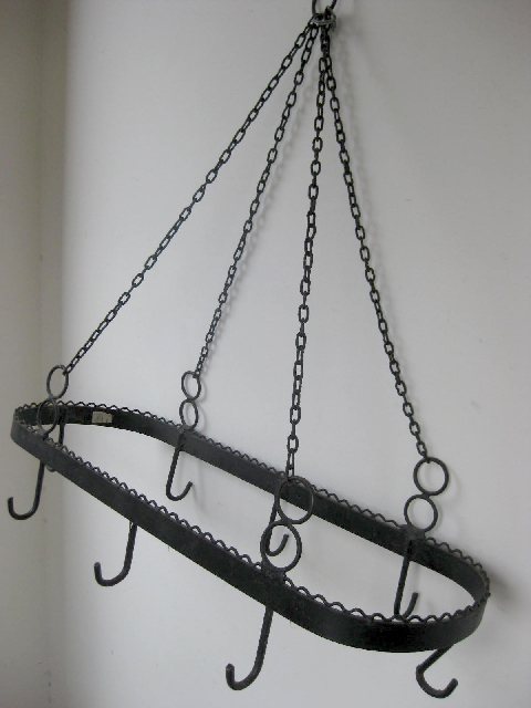 HAN0020 HANGING HANGING POT RACK, Black Iron $22.50