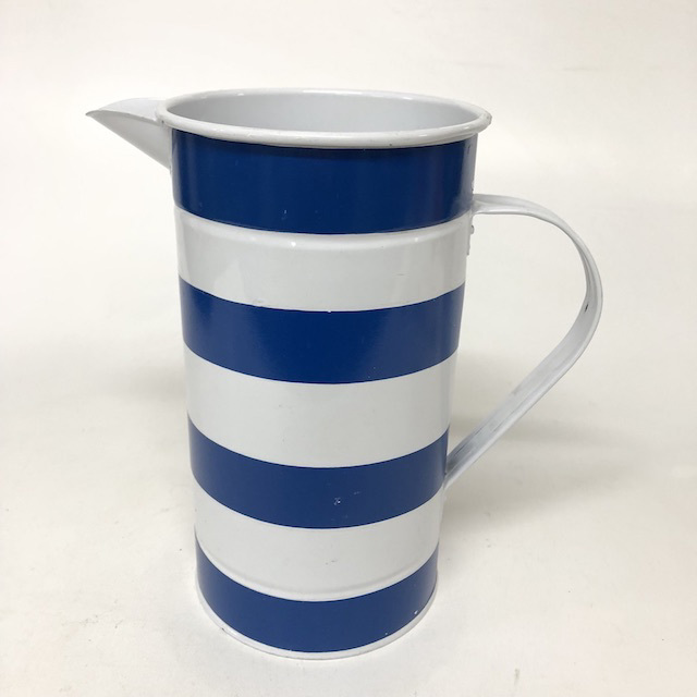 JUG0035 JUG, Blue White Striped Metal $6.25
