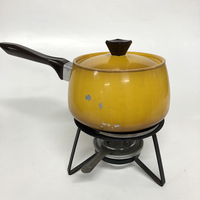 POT0155 POTS n PANS, Yellow Mustard Fondue Set 1970's $18.75