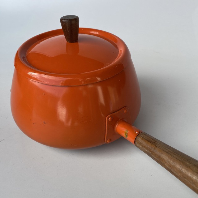 POT0188 POTS, n PANS, Orange Enamel w Wooden Handle - Fondue Saucepan $12.50