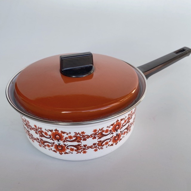 POT0192 POTS n Pans, Patterned Brown White Floral Saucepan w Lid $7.50