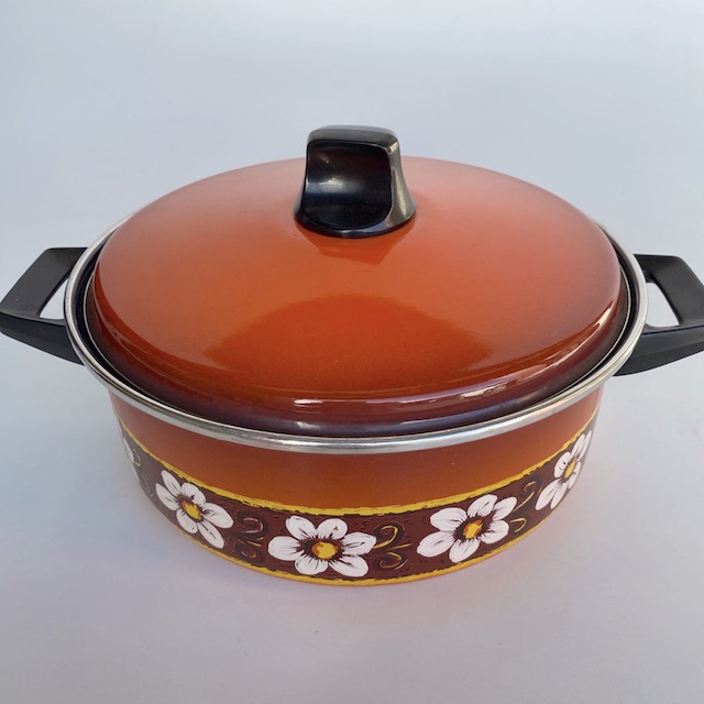 POT0193 POTS n PANS, Patterned Orange Brown Floral Stock or Casserole Dish $10