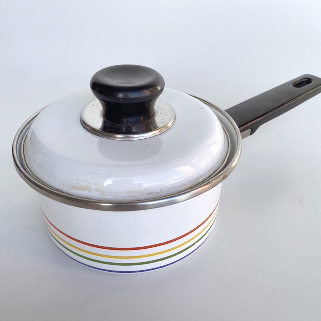POT0195 POTS n PANS, Patterned White Stripe Saucepan $6.25