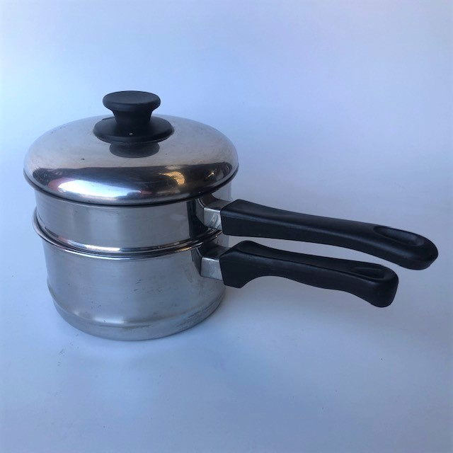 POT0217 POTS n PANS, Saucepan Steamer w Black Handle $10