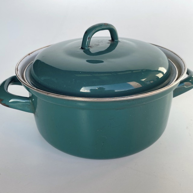POT0200 POTS n PANS, Teal Green Enamel Steel Stock or Casserole Dish $7.50