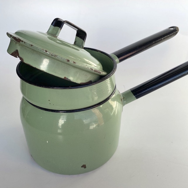 POT0153 POT n PANS, Vintage Green Enamel - Double Steamer