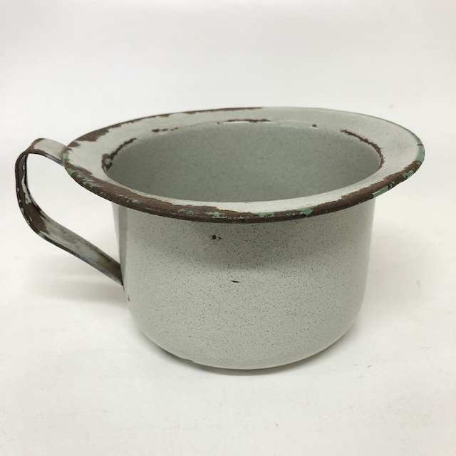 POT0051 POTTY BOWL, Vintage White Enamel  $7.5