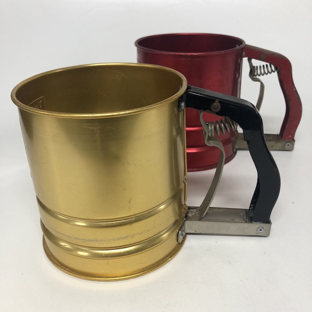 SIE0059 SIEVE, Flour Sifter Anodised Gold or Red $7.50