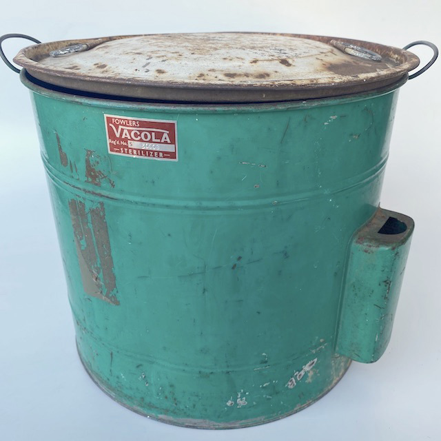 STE0010 STERILISER, Green Blue Metal Drum w Aged White Lid - Vacola $22.50