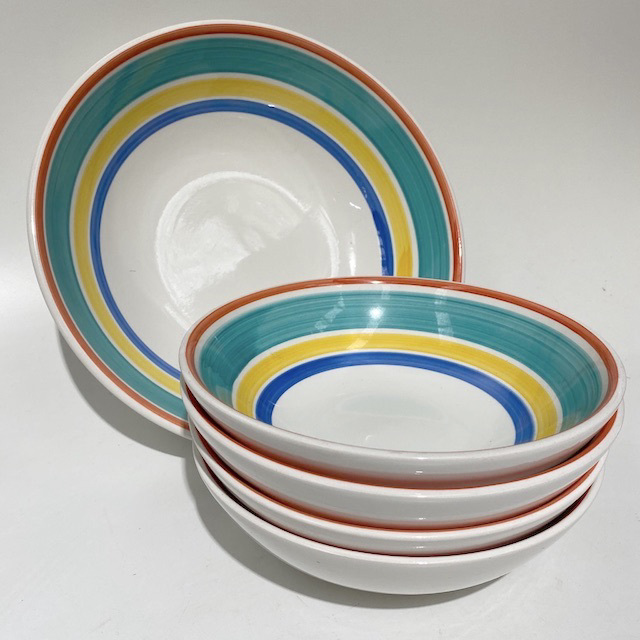 BOW0216 BOWL, Handpainted Stripe Pasta or Serving Bowl $3