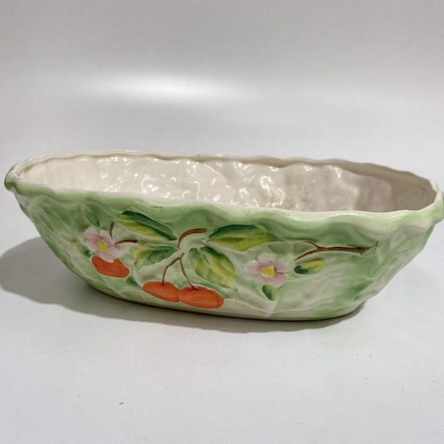 BOW0223 BOWL, Vintage Serving Dish - Green Cherries $10