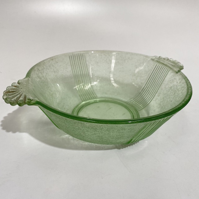BOW0224 BOWL, Vintage Serving Dish - Green Glass Deco $6.25